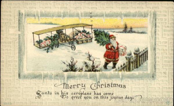 Santa With Old Airplane Santa Claus