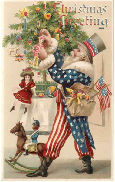 Rare Uncle Sam Hold To Light Santa Claus