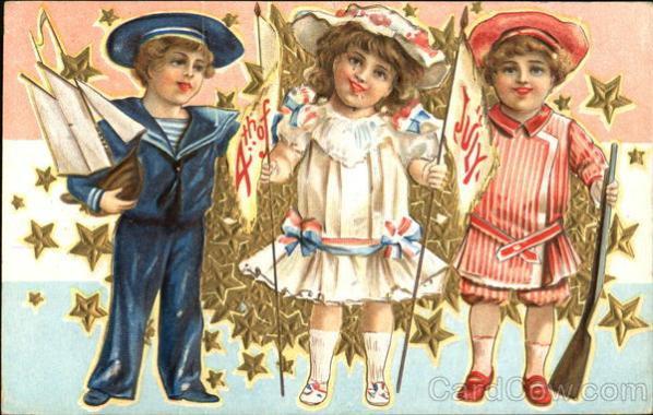 4th Of July Children Vintage Post Card