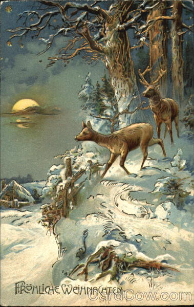 Winter Scene With Deer Christmas