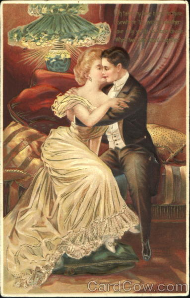 Victorian Couple Embracing On A Couch Romance Amp Love