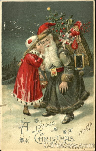 Child Whispering In Blue Robed Santas Ear Santa Claus