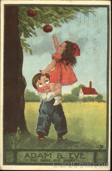 Boy Helping Girl Reach An Apple On A Tree Children