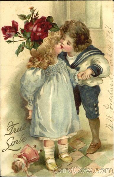 Little Girl And Boy Kissing Children