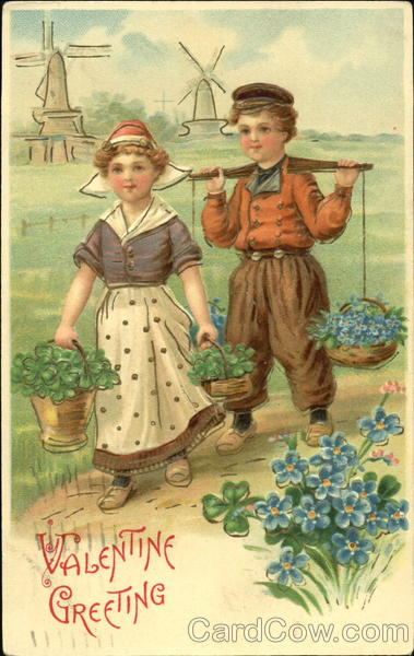 Little Dutch Girl And Boy Carrying Baskets Of Flowers Children