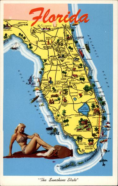 Florida, The Sunshine State Map and Bathing Beauty