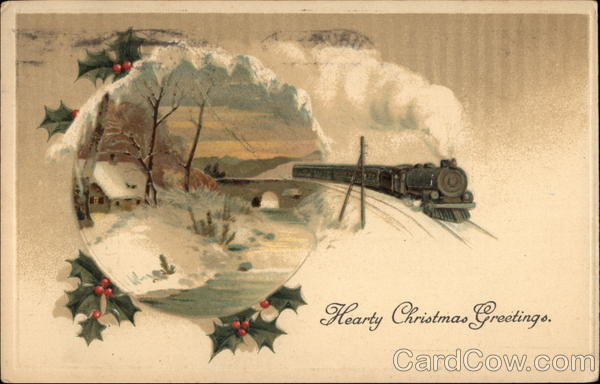Hearty Christmas Greetings Winter Scene With Steam Train