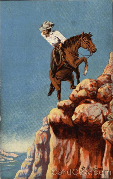 Cowboy And Horse Climbing Cliff Cowboy Western
