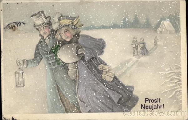 stare kartki noworoczne, po niemiecku