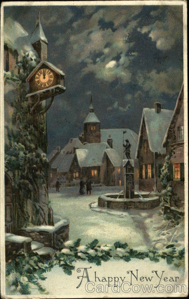 View Of Snowy Village New Years