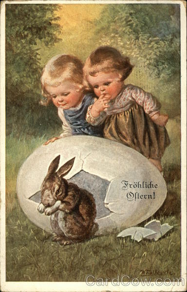Happy Easter With Young Children Watching Bunny Hatch From
