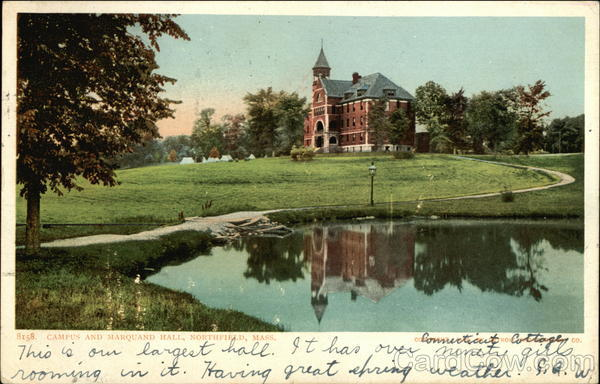 Campus and Marquand Hall Vintage Postcard