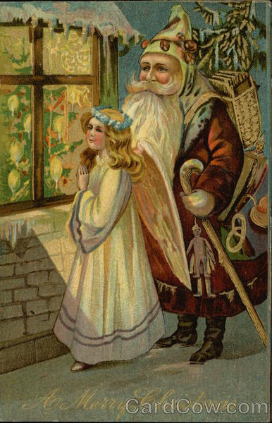 A Merry Christmas Santa And Angel Looking In Window From