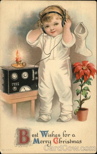 Best Wishes For A Merry Christmas With Child And Ham Radio