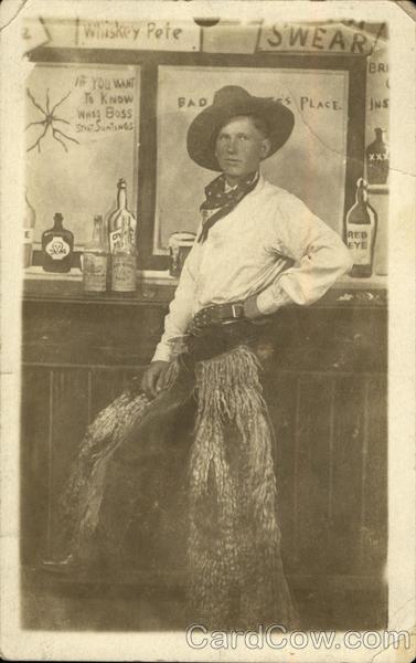 Cowboy In Fur Chaps At Bar Cowboy Western