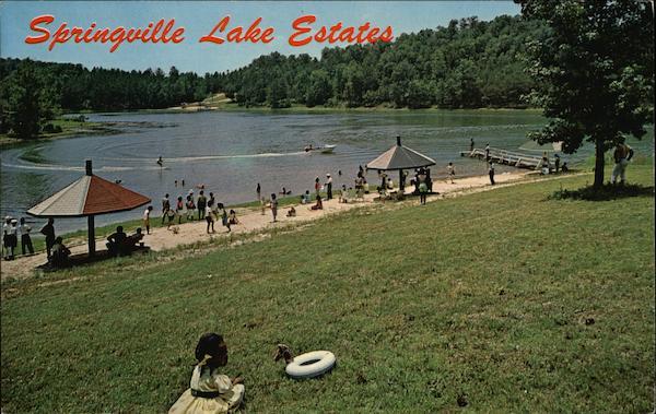 Springville Lake Estates Birmingham AL Postcard