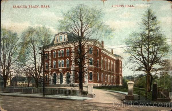 Street View Of Curtis Hall Jamaica Plain MA Postcard