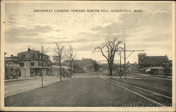 Broadway Looking Toward Winter Hill Somerville MA Postcard