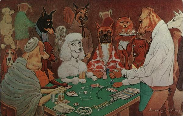 A Friendly Game Of Black Jack Dogs Playing Blackjack