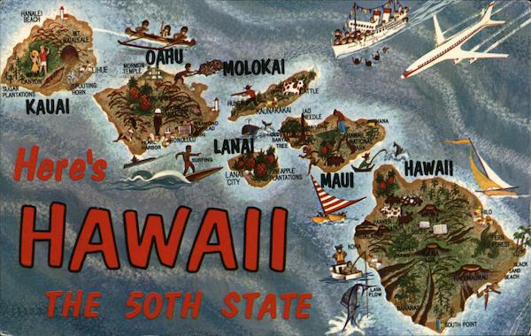 Heres Hawaii The 50th State Maps Postcard