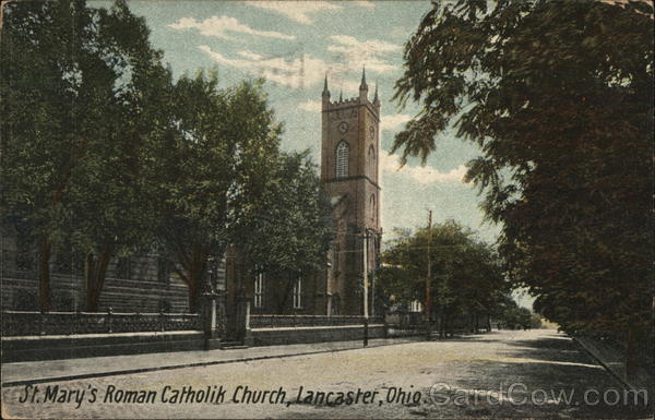 St Marys Catholic Church Lancaster OH Postcard