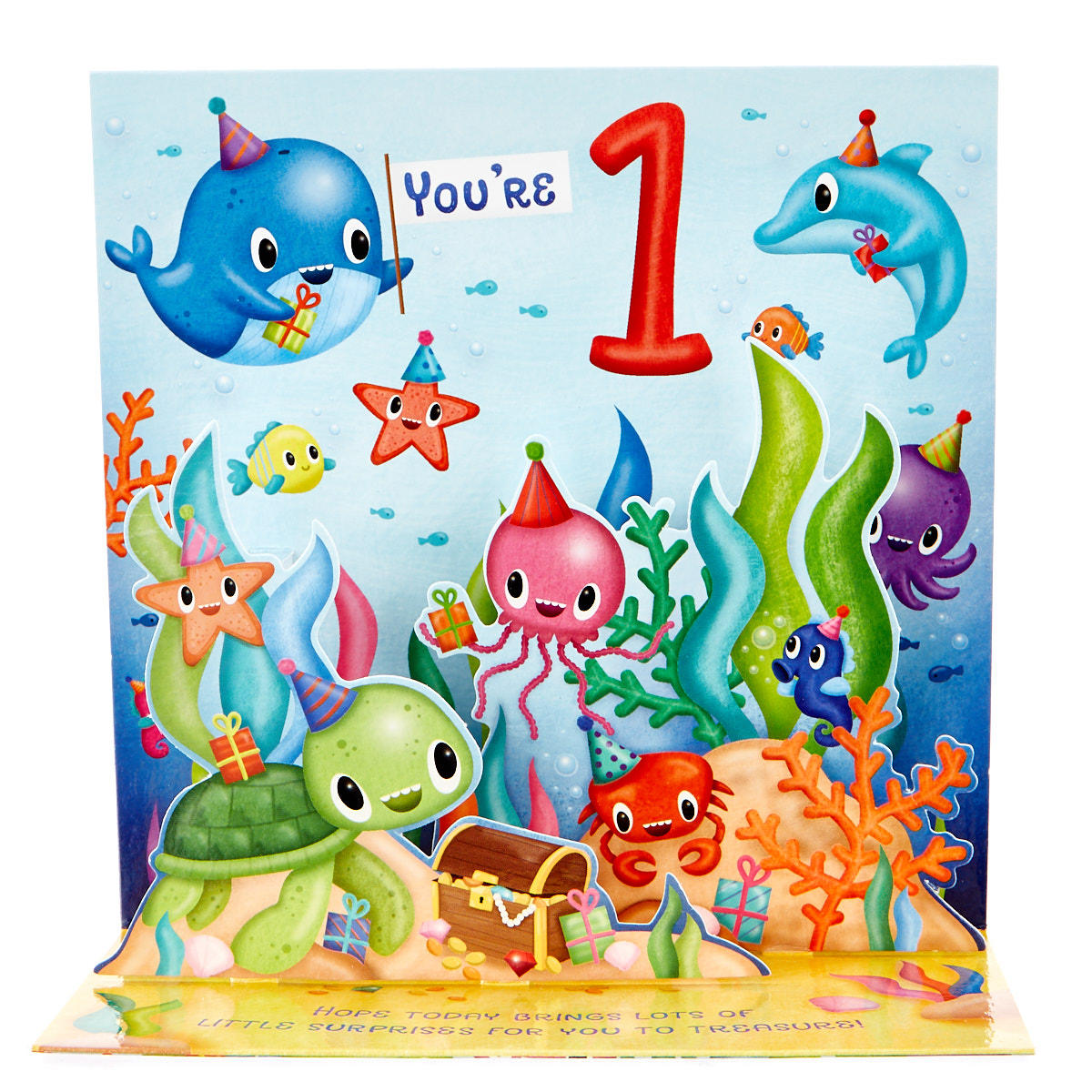 boutique collection 1st birthday pop up card under the sea