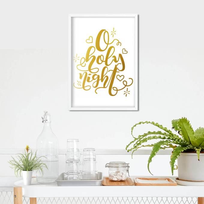 Christmas Wall Art, 'O Holy Night' Gold Foiled