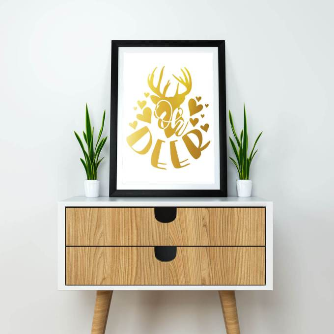 Christmas Wall Art, 'Oh Deer' Gold Foiled