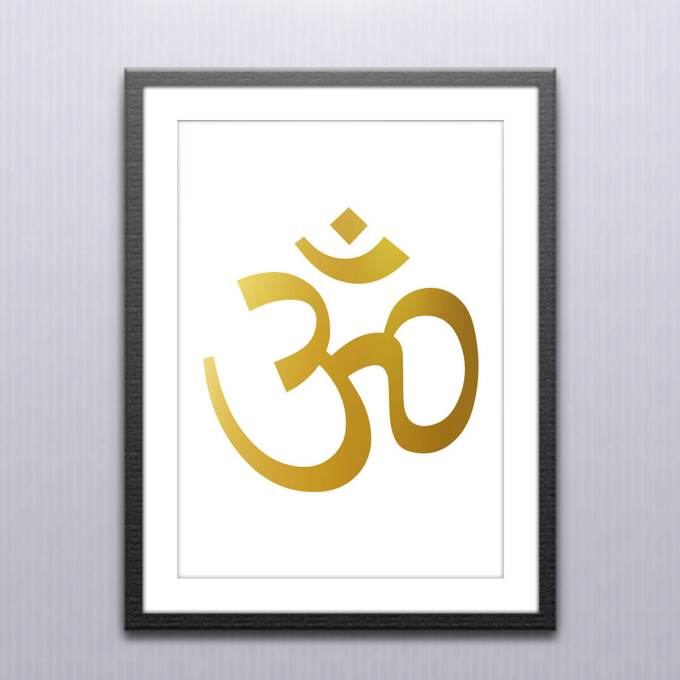 Om Wall Art, Gold Foiled Poster (OM1)