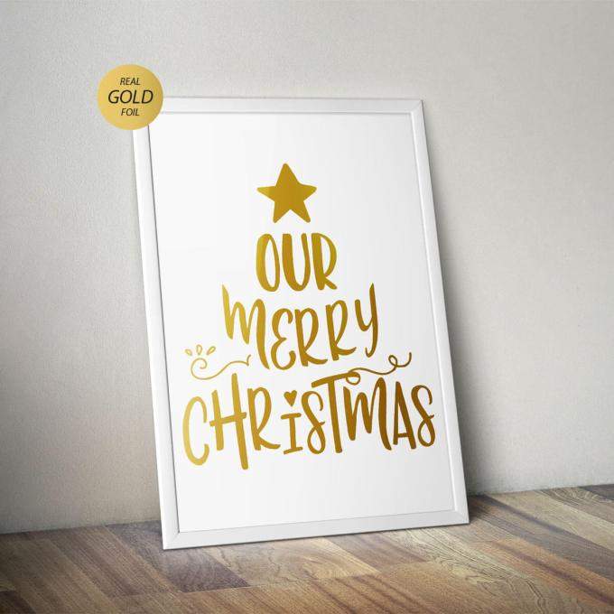 Christmas Wall Art, 'Our Merry Christmas' Gold Foiled