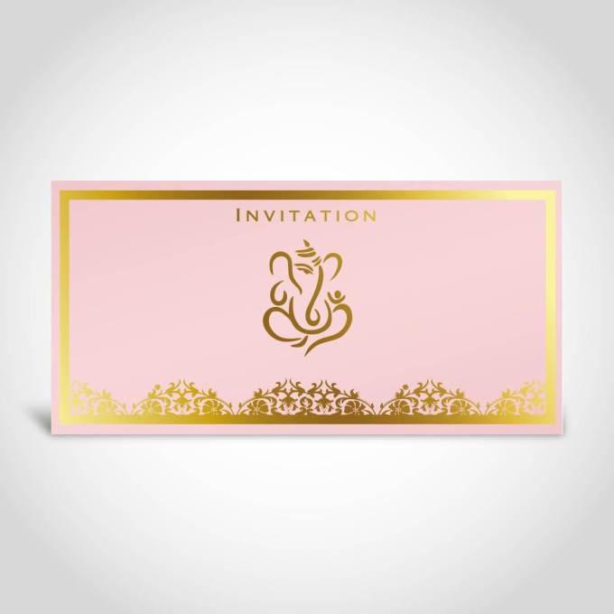 Baby Pink Hindu wedding invitation card with gold foiled ganesh