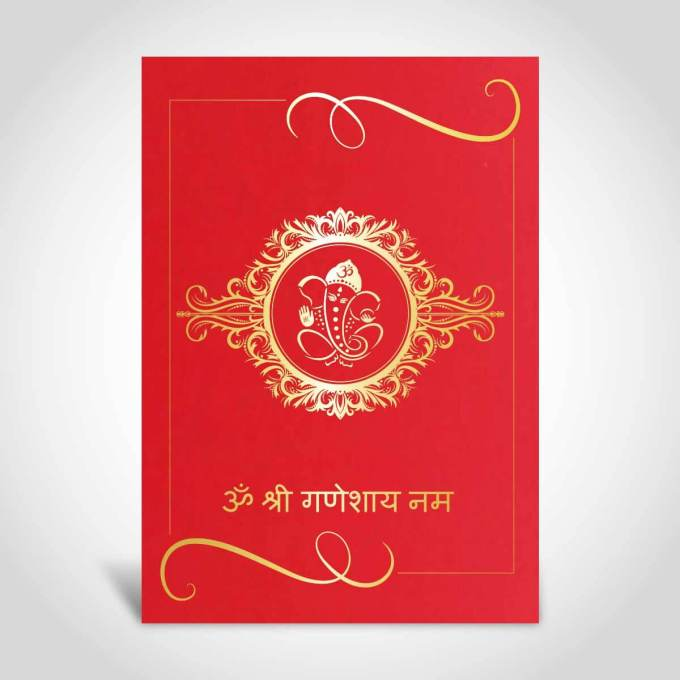 Red Indian wedding card with gold foiled Ganeshji