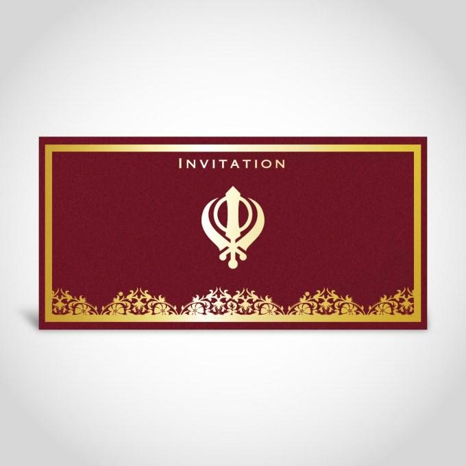Dark Red Sikh Wedding Card – CFS39
