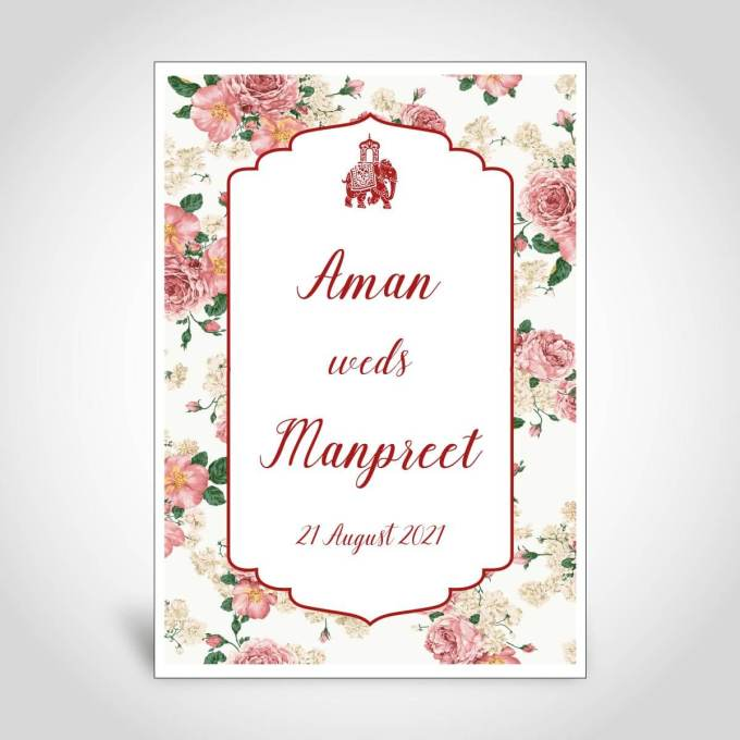 Floral Sikh Wedding Card – CFS156