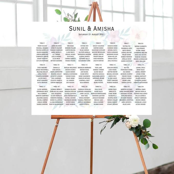 Floral Wedding Seating Chart – 6