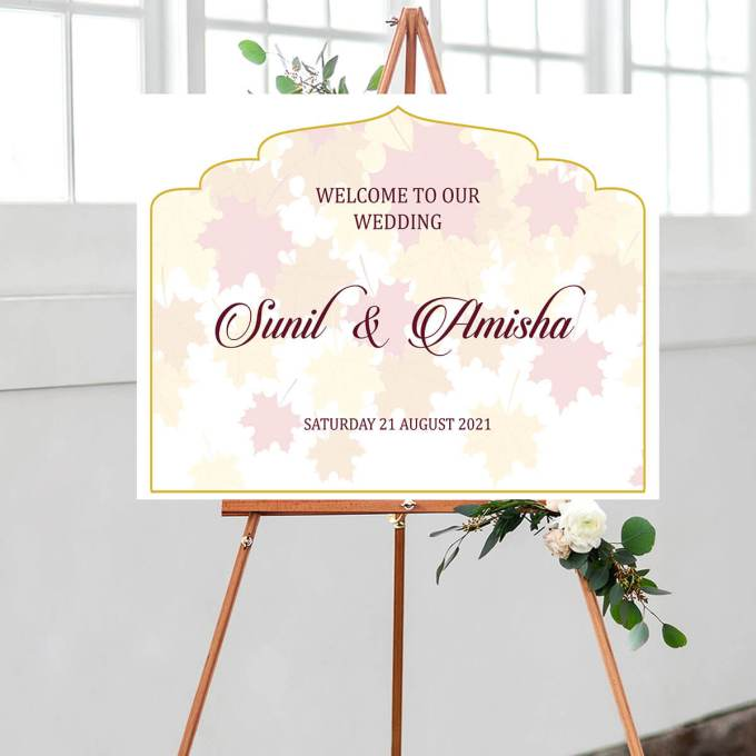Leaf Background Wedding Welcome Sign, Arch Cut – 1