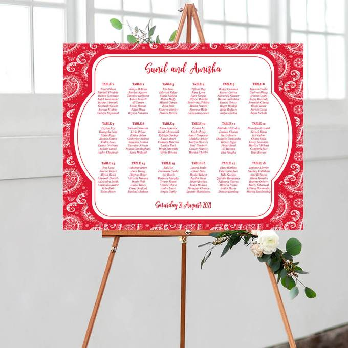 Paisley Wedding Seating Chart, Red – 1