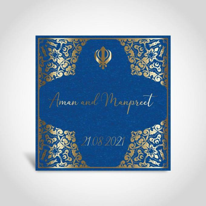 Pearl Blue Sikh Wedding Card – CFS140