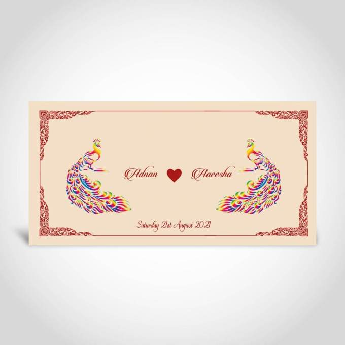 Cream Peacock Muslim Wedding Card – CFM8