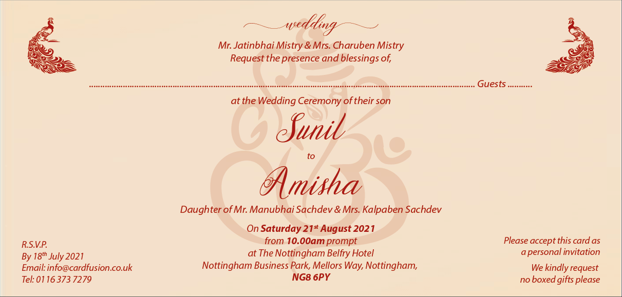 Hindu Wedding Invitation Wordings Cardfusion