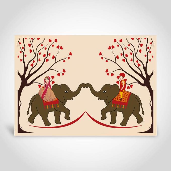 Indian Wedding Cards with Indian Couple and Elephants – CF189