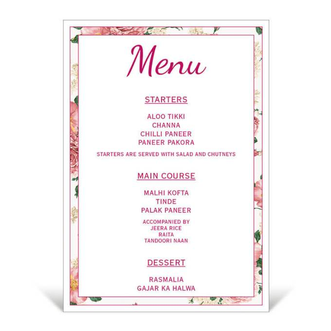 Floral Theme Table Menu – 2