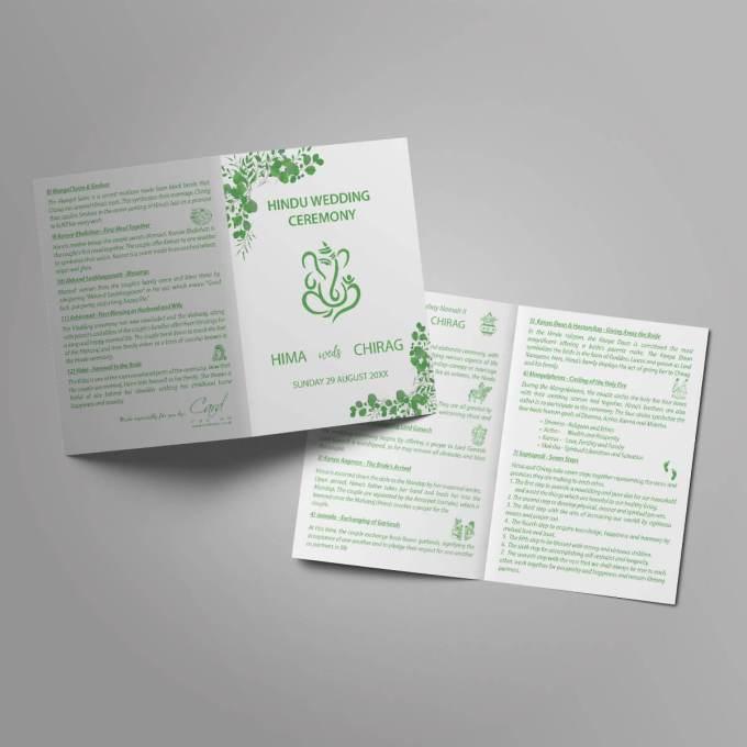 Hindu Wedding Order of Service Booklet – 3