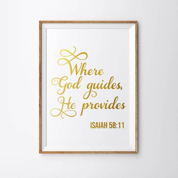 Christian Wall Art, 'Where God Guides, He Provides'