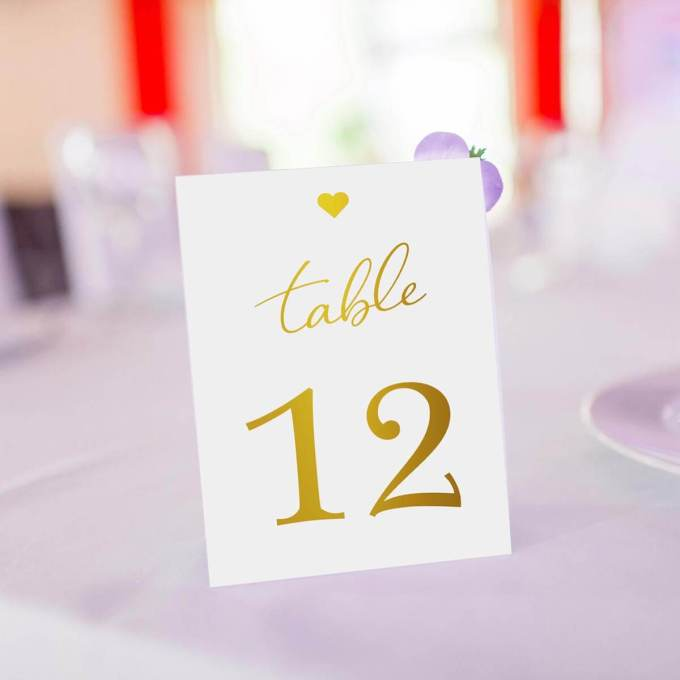 Wedding Table Numbers – Gold Foiled – 11