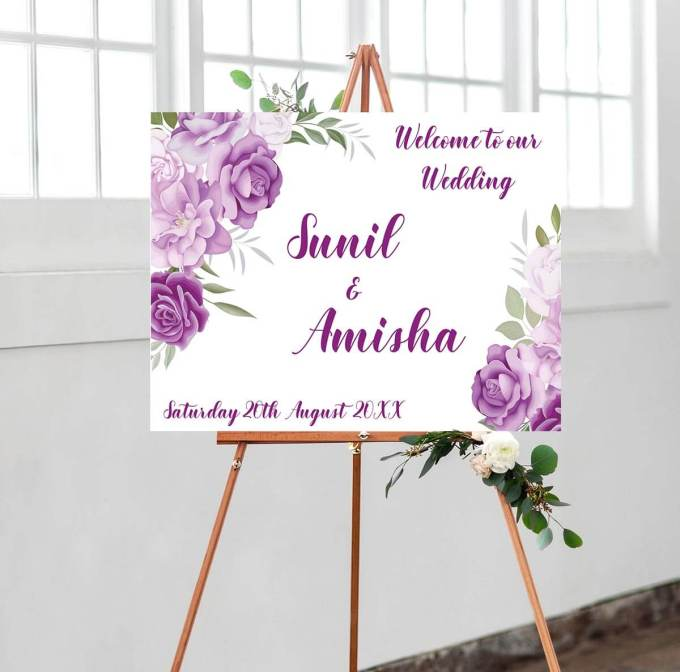 Floral Wedding Welcome Sign – 15