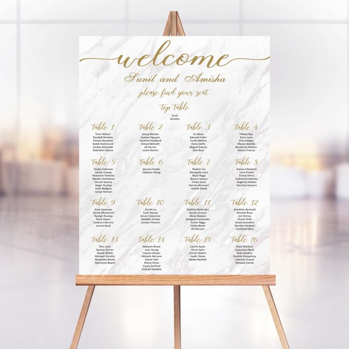 Wedding Seating Chart, Marble Effect – 20
