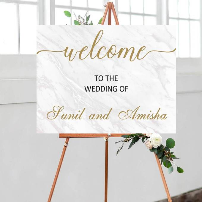 Wedding Welcome Sign, Marble Effect – 20