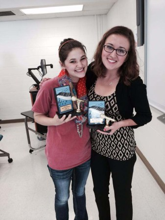 Bryanna England and Allison Pulliam pose with their speaker awards.