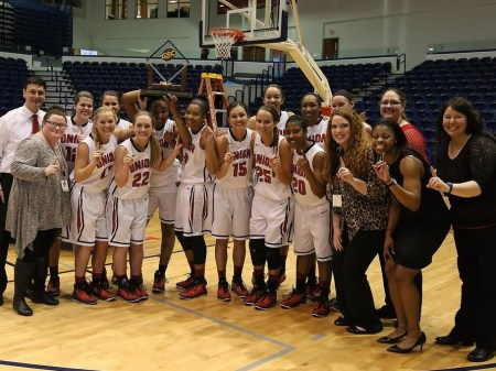 The women's basketball team earned the program's first GSC tournament title on Saturday, March 7. Submitted photo by the Gulf South Conference.